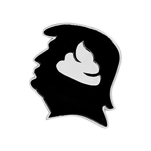 JAGETRADE Brosche Lustige Brosche Trump Head Shit Abzeichen Trick Kreative Persönlichkeit Frauen Kleid Männer Party Lässige Mode Corsage Pins Kleidung Dekoration Geschenke