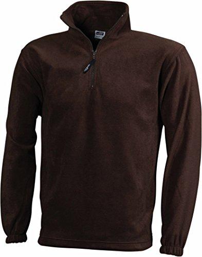 James+Nicholson Herren Fleece Pullover mit 1/4 Zip JN043 Brown XL