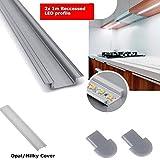 2 x 1 Meter Aluminium LED Profil Kanal mit Opal/Milky Abdeckung für 12V 24V LED Strip Light Einfarbig RGB/RGBW 3528 5050 5630 PVC Extrusion, aluminium, Recessed