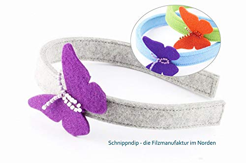 Haarreif aus Metall ummantelt mit hochwertigem Filz (100% Wolle), Filzhaarreif, Metallhaarreif, für Mädchen und Frauen, verziert mit einem Schmetterling bestickt mit - Niedliche Schmetterlings Kostüm
