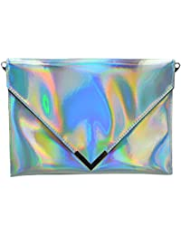 LA HAUTE Women PU Envelope Clutch Bags Holographic Handbags Chain Shoulder  Bags 16c5d6ac10740