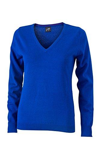 James & Nicholson Damen V-Neck Pullover Blau (Royal), 36 (Herstellergröße: M) Blau Damen Pullover