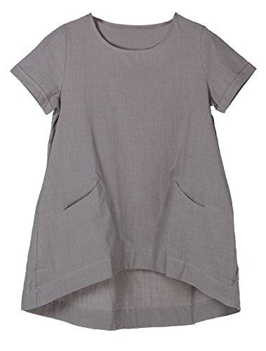 MatchLife Damen Sommer Tuniken Kurze Ärmel Leinen Bluse Casual T-Shirt Tops Grau XL(Fit EU40-46)