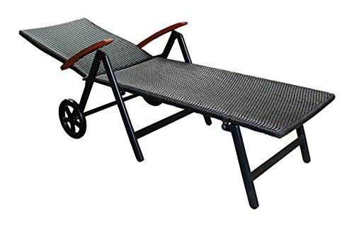 Alu Sonnenliege Gartenliege Rattanliege Rollliege Relaxliege Rollenliege Liege - 2