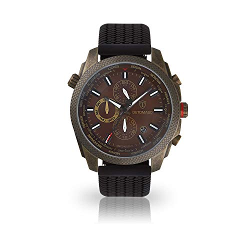 DETOMASO Discoverer II Herren-Armbanduhr Chronograph Analog Quarz schwarzes Silikonarmband braunes Zifferblatt DT-YG102-I-771