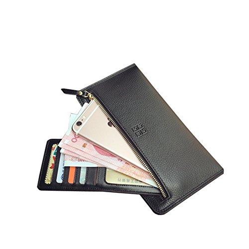 Yvonnelee Grande capacità lusso Portafoglio da donna in pelle borse-Portafogli con portamonete e porta carte di credito e tasca con Pocket Nero