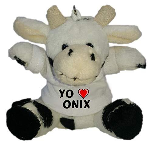 Shopzeus Vaca de Peluche (Llavero) con Amo Onix en la Camiseta (Nombre de Pila/Apellido/Apodo)