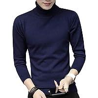 Byqny Hombre Elegante Suéter de Punto Cuello Alto Sweater Manga Larga Camisa Inferior