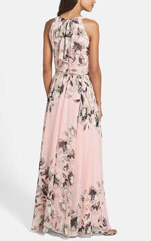 Smile YKK Femme Robe Elégante Longue Peplum de Soirée Swing Imprimé Fleur Rose