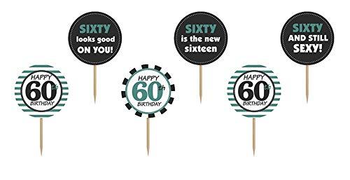 uchendeko Happy Birthday Cupcake Topper Tortendeko Geburtstag Geburtstagstorte 60. Geburtstag ()