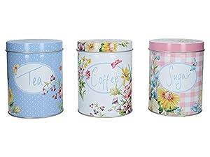Katie Alice C000099 Lot de 3 boîtes de rangement pour café, sucre et thé Motif jardin anglais