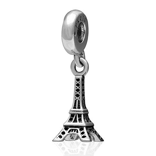 Shining fascino viaggi parigi torre eiffel pendente in argento sterling 925, con ciondolo charm europei fit bracciale