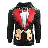 Pullover Herren Weihnachten,Dasongff Hoodie 3D Anzug Muster Druck Kapuzenpullover Männer Galaxy Bunte Langarm Sweatshirt Krawattennadeln Pattern Christmas Suit