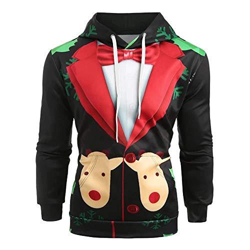 MIRRAY Herren Weihnachten Kapuzenpullover Weihnachtsanzugmuster 3D Elch Print -
