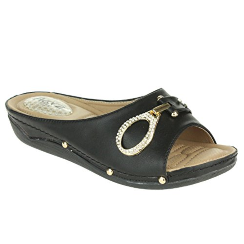 Frau Damen Komfort Gepolstert Atmungsaktiv Futter Weich Flexibel Casual Schlüpfen Keilabsatz Sandalen Schuhe Größe Schwarz