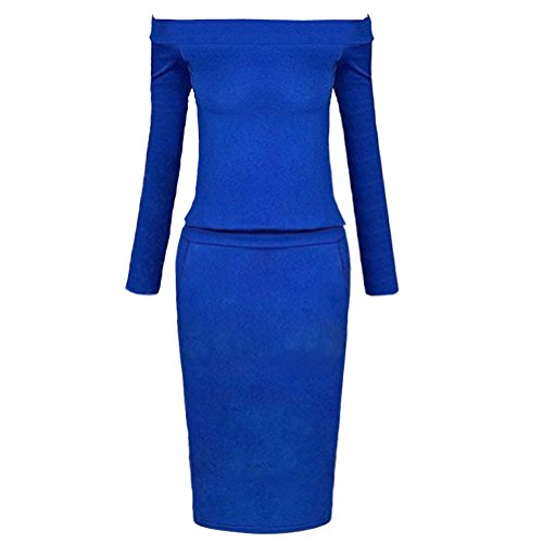 Pinkyee Damen Etui Kleid Blau