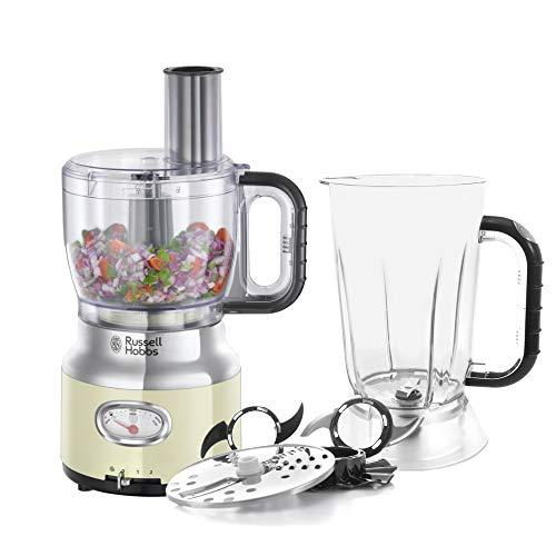 Russell Hobbs Robot Cuisine Multifonction 2,3L Rétro Vintage, Hâche, Mixe, Tranche Et Râpe, Compatible Lave-Vaisselle - Crème 25182-56