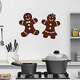 86x57cm Lebkuchen-Wand-Abziehbild-Küchen-Kunst-Wandbild-nette Vinylwand-Aufkleber-Plätzchen-Muster-Mann und Frau moderne Feiertags-Wohngestaltung
