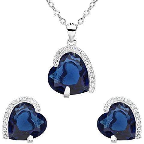 EleQueen argento 925 completa Cubic Zirconia eterno amore del cuore nuziale Collana Orecchini Set