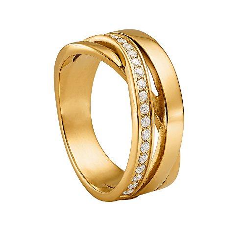 Heideman Ring Damen Draco aus Edelstahl Gold farbend matt Damenring für Frauen mit Swarovski Stein Zirkonia Weiss im Brillant Schliff 1,5mm