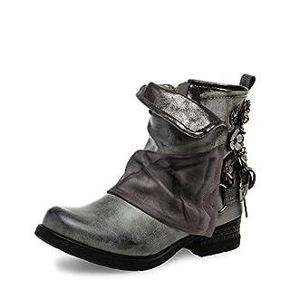 Caspar SBO089 Damen Vintage Boots mit Gamaschen, Farbe:grau, Größe:40 EU