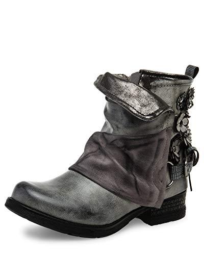 Caspar SBO089 Damen Vintage Boots mit Gamaschen, Farbe:grau, Größe:39 EU