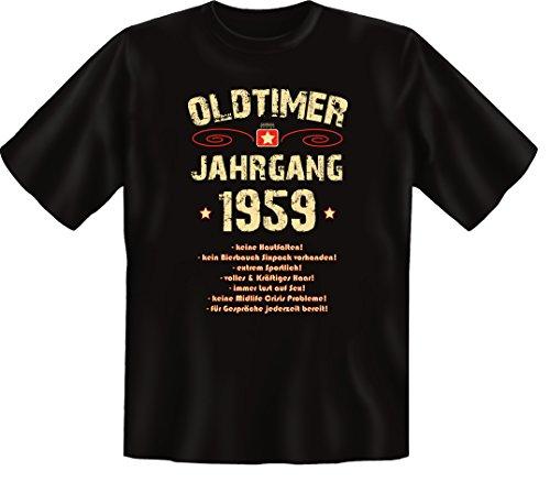 Zum 57 Geburtstag, Oldtimer / Jahrgang 1959, Elegante Herren Fun-t-shirts als Geschenk zum Geburtstag mit Coolem-Sprüche-Motiv:, , Schwarz