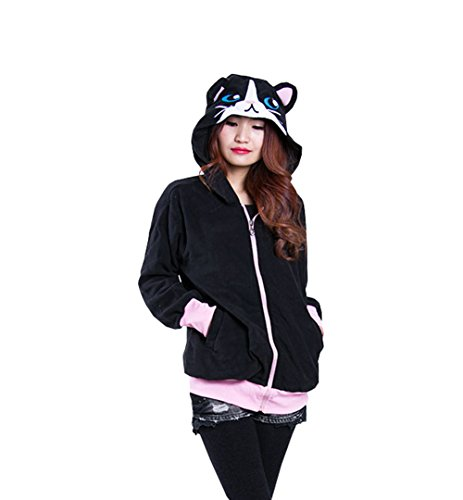 ay Black Cat Costumes Plush Animal Pajamas Onesie Hoodie Sweater Jacket (Black Cat Kigurumi)