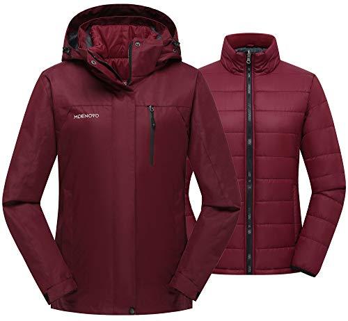 MDENOVO Damen 3 in 1 Skijacke Wasserdicht Puffer Innen Warm Winter Mantel Snowboard Mountain Jacke - Rot - Mittel