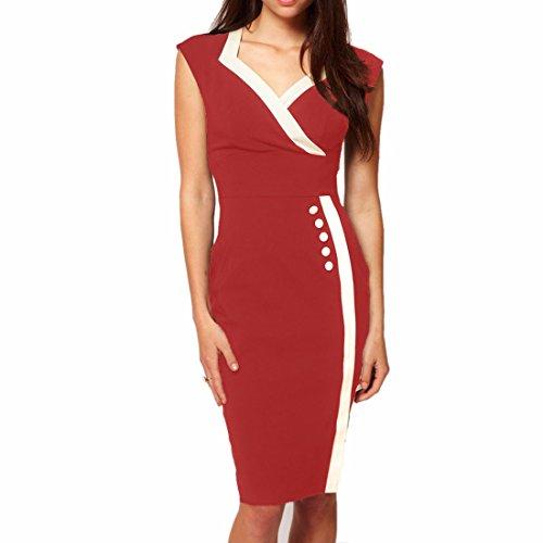 Sexy Frauen mit V Ausschnitt Arbeitszimmer Geschaeftsaermelloses Bodycon Midi Bleistift Kleid Rote