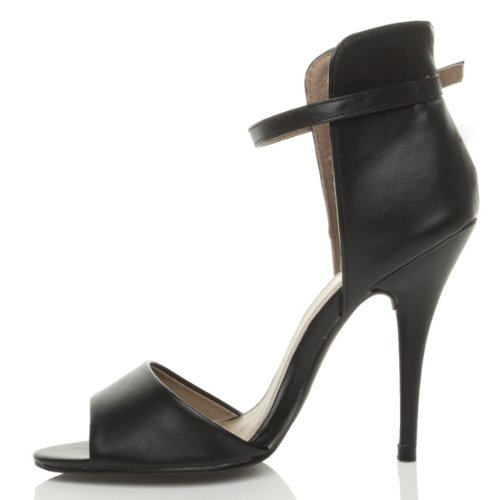 Sandales femmes talon haut contraste deux tons bride à la cheville taille Noir mat