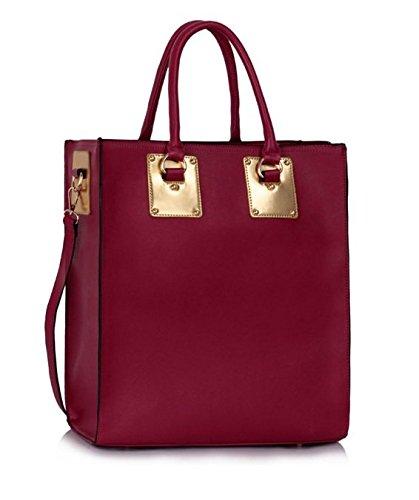 GetThatBag® Anya Damen Faux-Ledertote Shopper Handtasche - Schwarz / Braun / Burgund Burgund