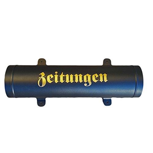 Zeitungsrolle in Schwarz / Matt mit Verschlussgitter aus stabilem Metall Zeitungsbox Zeitungsfach - 2