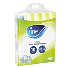 Fine Fluffy Facial Tissues, Pack of 10 x 200 Sheets x 2 Ply