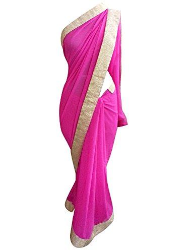 Magenta Pink Georgette Shimmer Border Saree ASS65