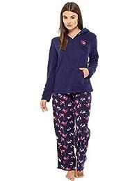 Ladies Bear Owl Penguin Long Sleeve Fleece Pyjamas Winter Warm Lounge Wear