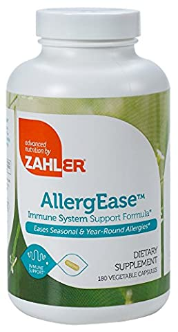 Zahler AllergEase, Advanced Formula for Allergy Relief, Helps Reduce Seasonal Discomfort and Histamine Control Supplement, All-Natural Safe and Effective Supplement Supporting Healthy Immunity, Certified Kosher, 180 Capsules