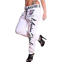 Violento Jogginghose Damen lang   Trainingshose 100% Baumwolle   Sporthose mit Bündchen   Enger Beinabschluss   Marine Royal