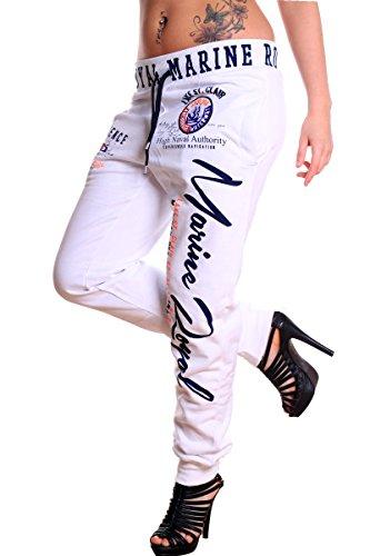 Violento Damen Jogginghose Marine Royal100% Baumwolle (L=Fällt Groß aus, Weiß)