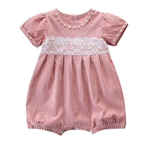 KIMODO Kleinkind Baby Mädchen Strampler Overall Spitze Patchwork Cord Einfarbig Urlaub Prinzessin Outfit Neugeborenes Kleidung -