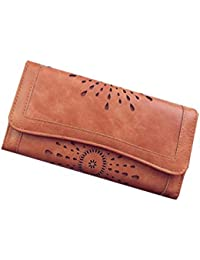 Di Grazia Women's Credit Card Cash Holder (3 Fold) Long Synthetic Leather Wallet (Brown, Brown-Long-Designer-Wallet)