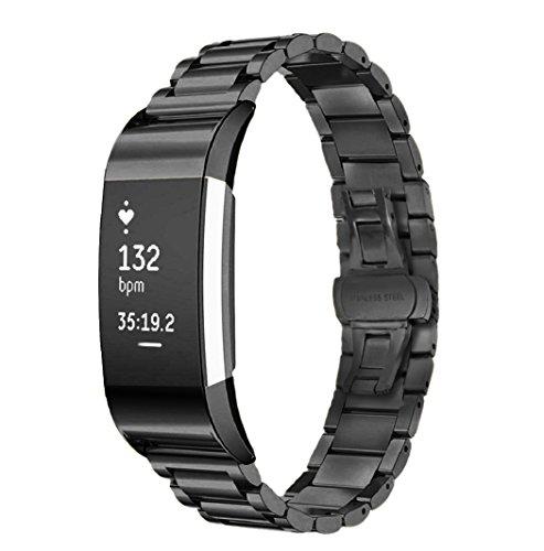 Fotowelt für Fitbit Laden 2Zubehör, Edelstahl Armband Bands Mesh relacemenmt Handgelenk Band mit doppelter Button Klappschließe für Fitbit Laden 2