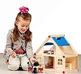 rcee Puppenhaus Wohnhaus Holz 4 Puppen und 9 Möbel 2 Etagen Mädchen Kinder Puppenstube schadstofffrei