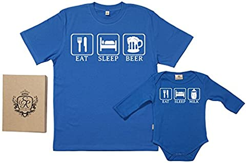 SR - Eat, Sleep, Drink - Ensemble de pour Père et bébé, Bleu, M & 0-6 mois
