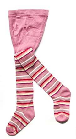 Baby Girls Cute Pink Knitted Cosy Winter Warm Striped Patterned Design Tights (18-24 Months)