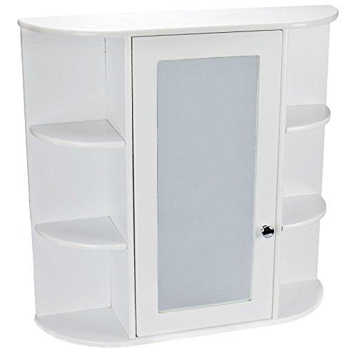 Petite Unique Porte Miroir mural de salle de bain en bois sur les toilettes Armoire de rangement Meuble Blanc Médecine Armoire de toilette maquillage avec étagère moderne arrondi d'angle Motif
