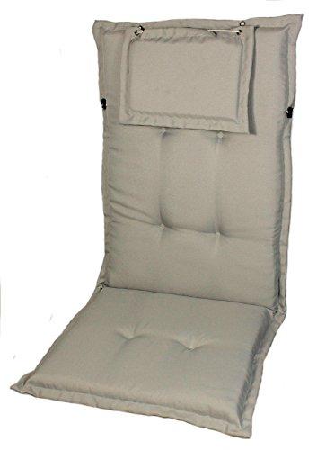 Polster für Schaukelstuhl , Liegestuhl , Hochlehner Auflage 120 x 52 cm , Loneta grau (Schaukelstuhl Hochlehner)