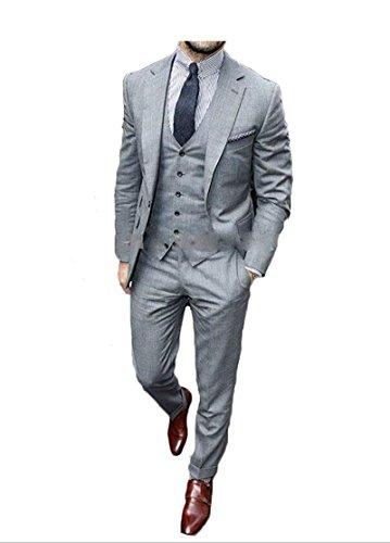 Lilis® Herren Slim Fit Classic 2 Button 3 Stück Business Anzug Set nach Maß