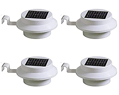 ETTG Wall Garden Pathway Solar Powered 4 LED Fence Lamp Light LED Night Light Outdoor Waterproof