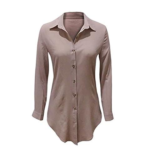 Chemisier Longra Femmes Mousseline de soie En vrac Chemise à manches longues Chemisier (Asiatique Taille: XL, Kaki)